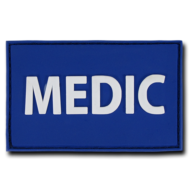 "T90 - Tactical Patch - Medic - Rubber (3""x2"") - Blue"