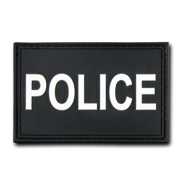 """T90 - Tactical Patch - Police - Rubber (3""""x2"""") - Black"""
