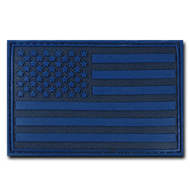 """T90 - Tactical Patch - USA Flag - Rubber (3""""x2"""") - Subdued Blue"""