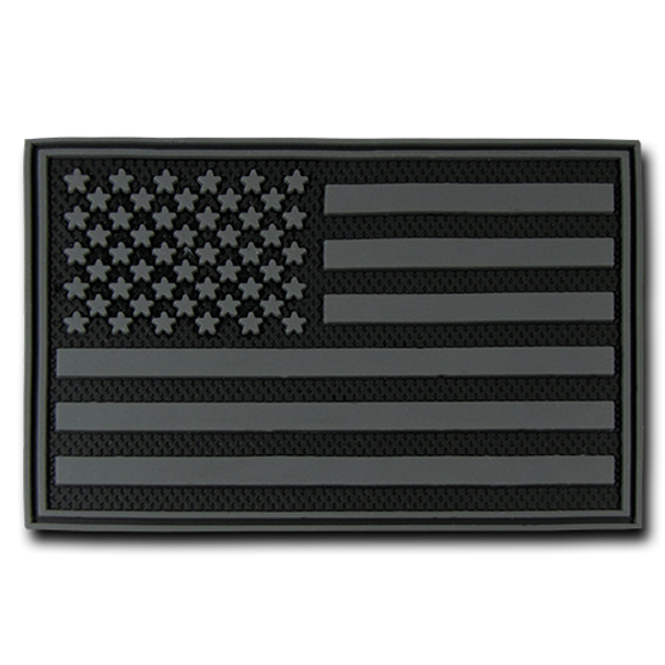"""T90 - Tactical Patch - USA Flag - Rubber (3""""x2"""") - Subdued Black"""