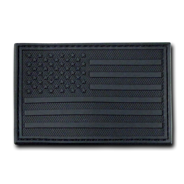 "T90 - Tactical Patch - USA Flag - Rubber (3""x2"") - Black"