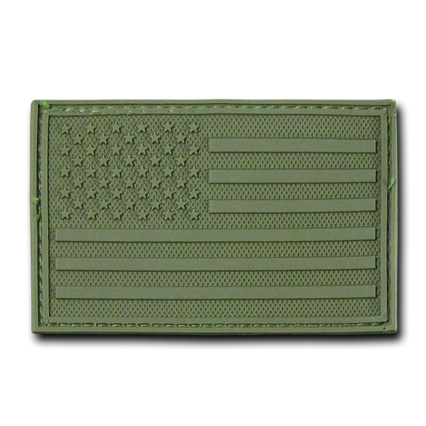 """T90 - Tactical Patch - USA Flag - Rubber (3""""x2"""") - Olive"""