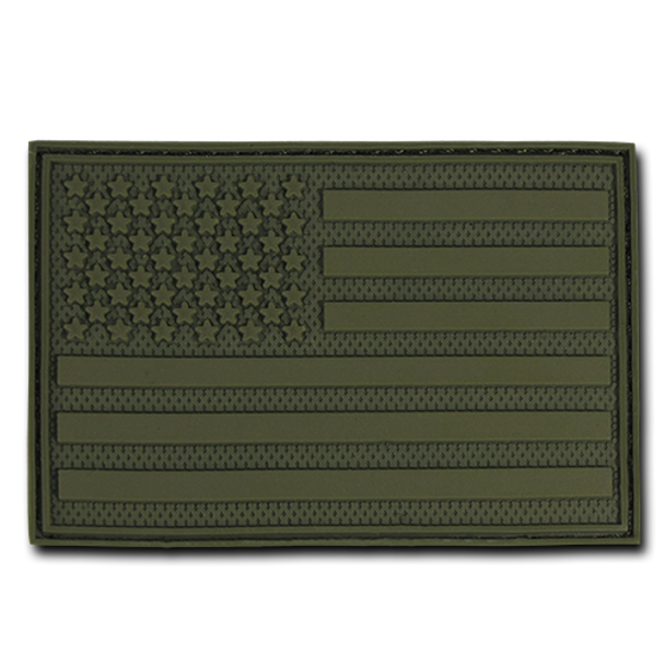 "T90 - Tactical Patch - USA Flag - Rubber (3""x2"") - Subdued Olive"