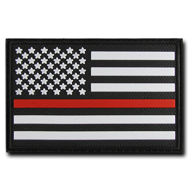 "T90 - Tactical Patch - USA Flag Thin Red Line - Rubber (3""x2"") - Black"