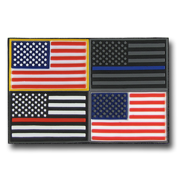 T96 - Tactical Mini Patches - USA Flag - 4-Pack Multi-Color