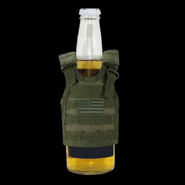 T99 - Tactical Mini Vest  Bottle Koozie - USA Flag - Olive Drab