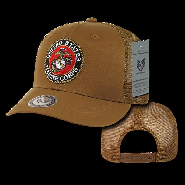 S77 - U.S. Marine Corps Cap - Back to Basics - Trucker Mesh - Coyote