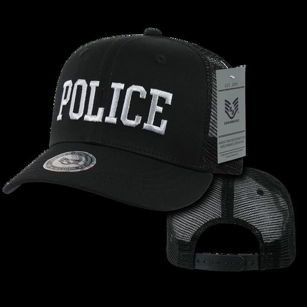 S77 - Police Cap - Back to Basics - Trucker Mesh - Black