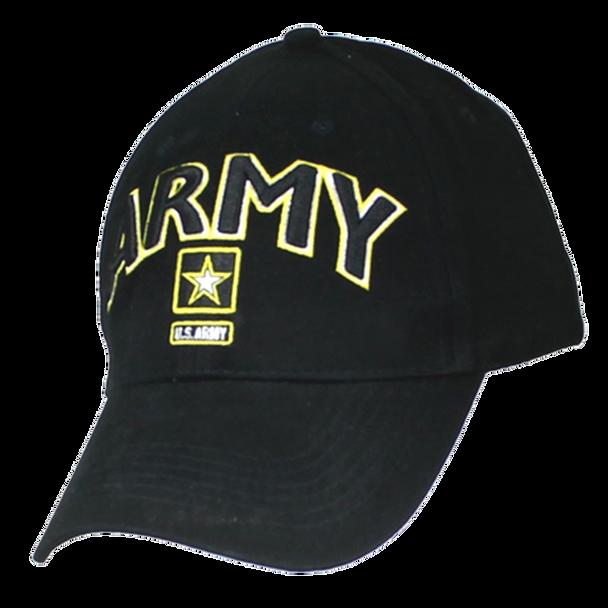 6468 - Army Cap - Star Logo - Cotton - Black