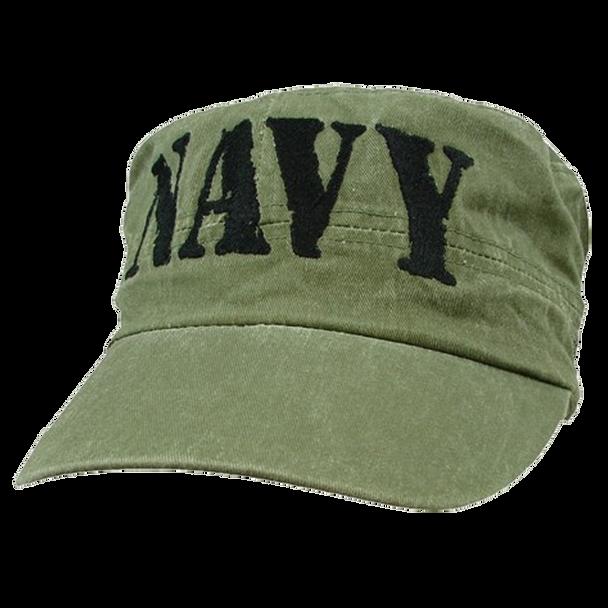 5805 - U.S. Navy Patrol Cap - Flat Top Vintage - Cotton - OD Green