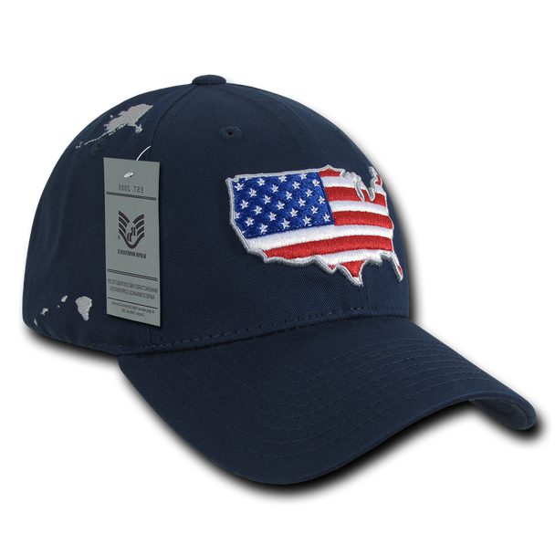 A04 - USA Cap With U.S. Map & Flag - Low Crown - Cotton - Dark Blue