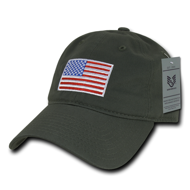A03 - USA Flag Cap - Relaxed Fit - Cotton - Olive