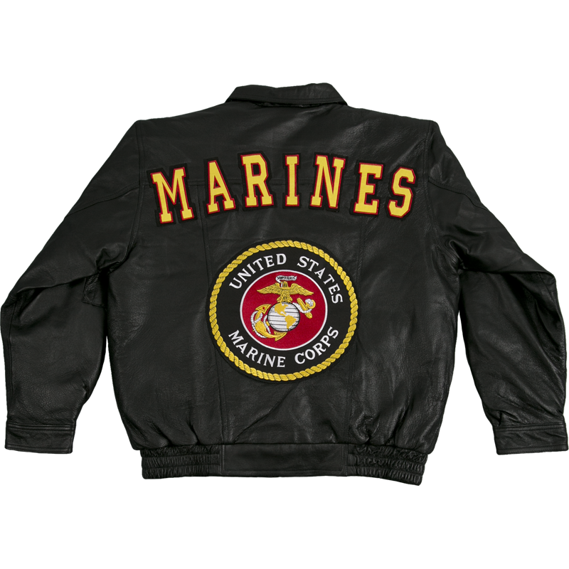 ba7d01f5b0b 04946 - Marines Leather Bomber Jacket With USMC Logo ...