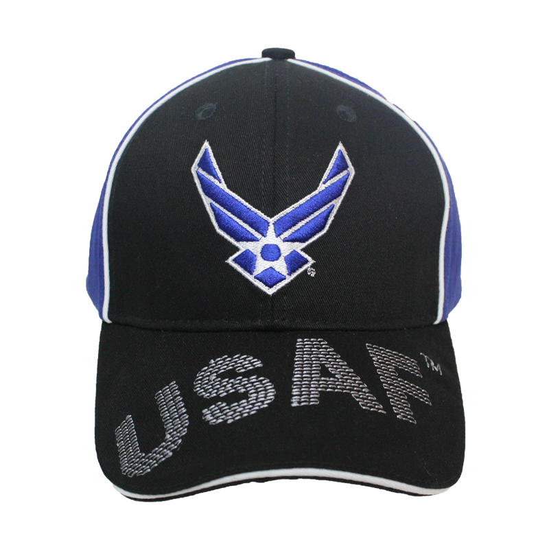 63e65c8d7b6 34936 - Piped Embroidered U.S. Air Force Wings Cap Sandwich Bill -  Black Blue ...