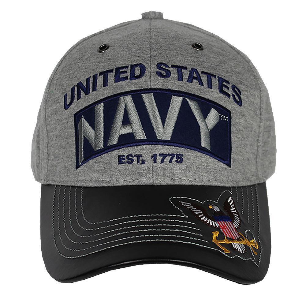 U S  Navy Cap - Jersey Knit Cotton/Faux Leather Bill - Grey/Black