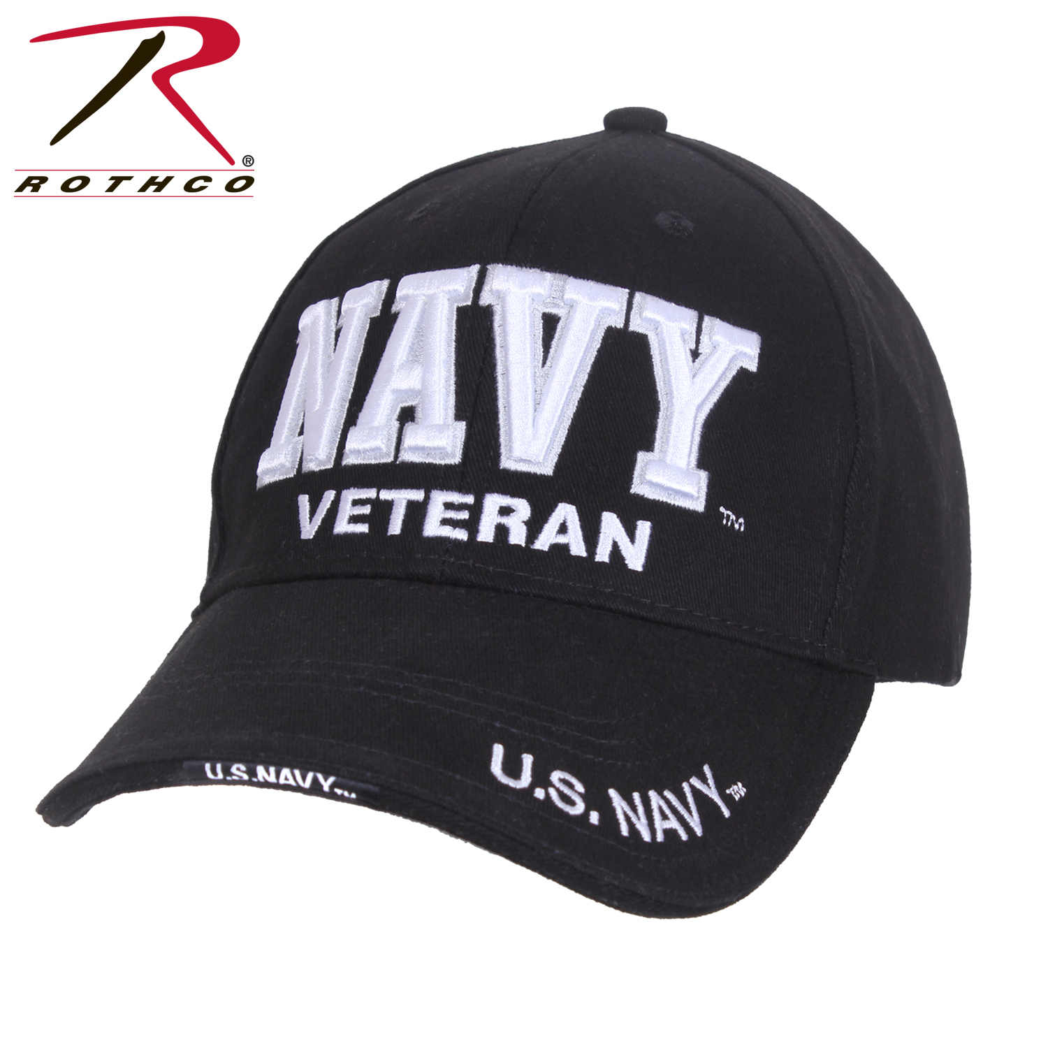 Rothco Deluxe U S  Navy Veteran Cap Embroidered Low Profile (Item #3953) -  Black