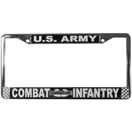 US Army Retired License Plate Frame Chrome Metal Mitchell Proffitt A02