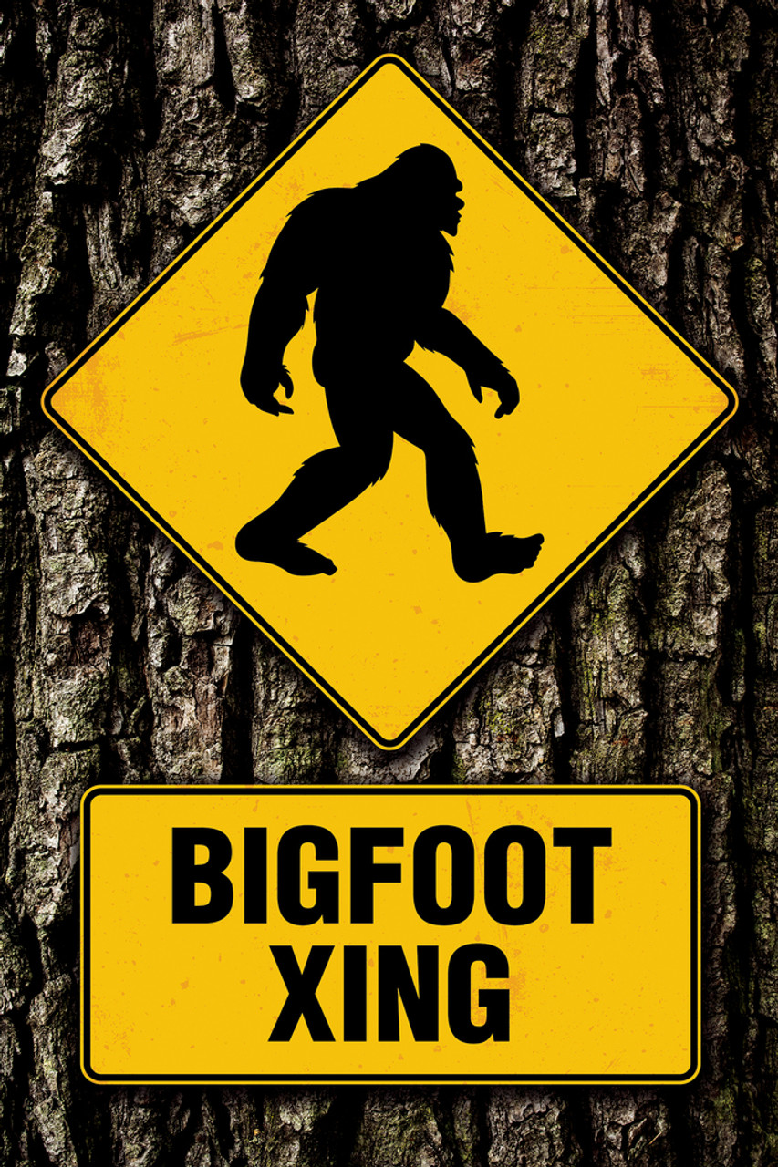 bigfoot crossing funny sign cool wall decor art print