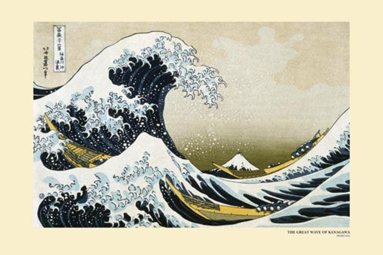 The Great Wave Of Kanagawa Katsushika Hokusai Art Laminated Poster 36x24