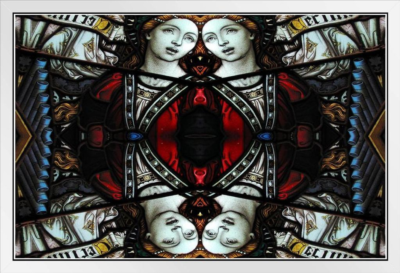Virgin Mary Mosaic Kaleidoscopic Image Stained Glass Art Print Poster 18x12 inch