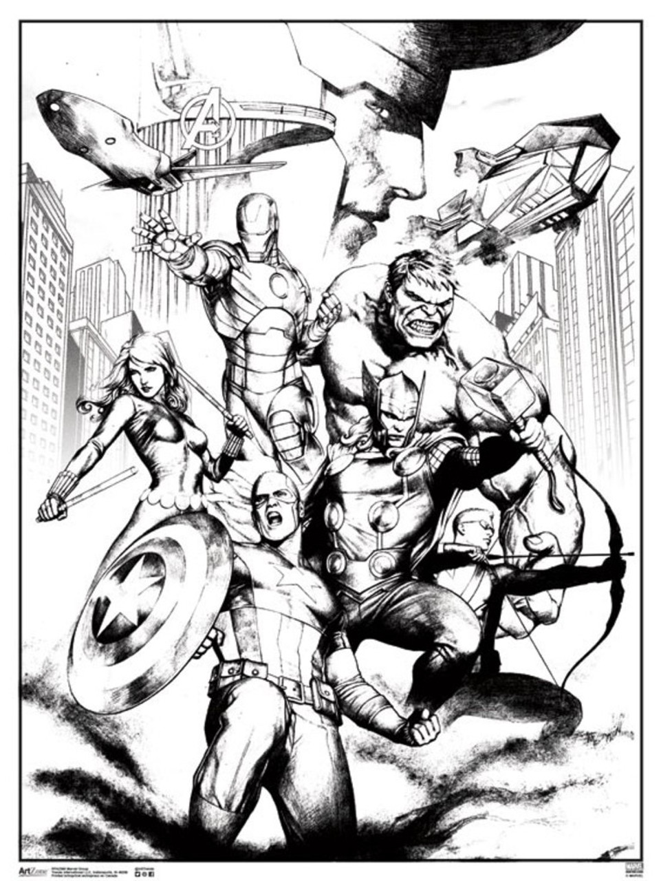Marvel Avengers Group Comic Books Coloring Poster 18x24 inch