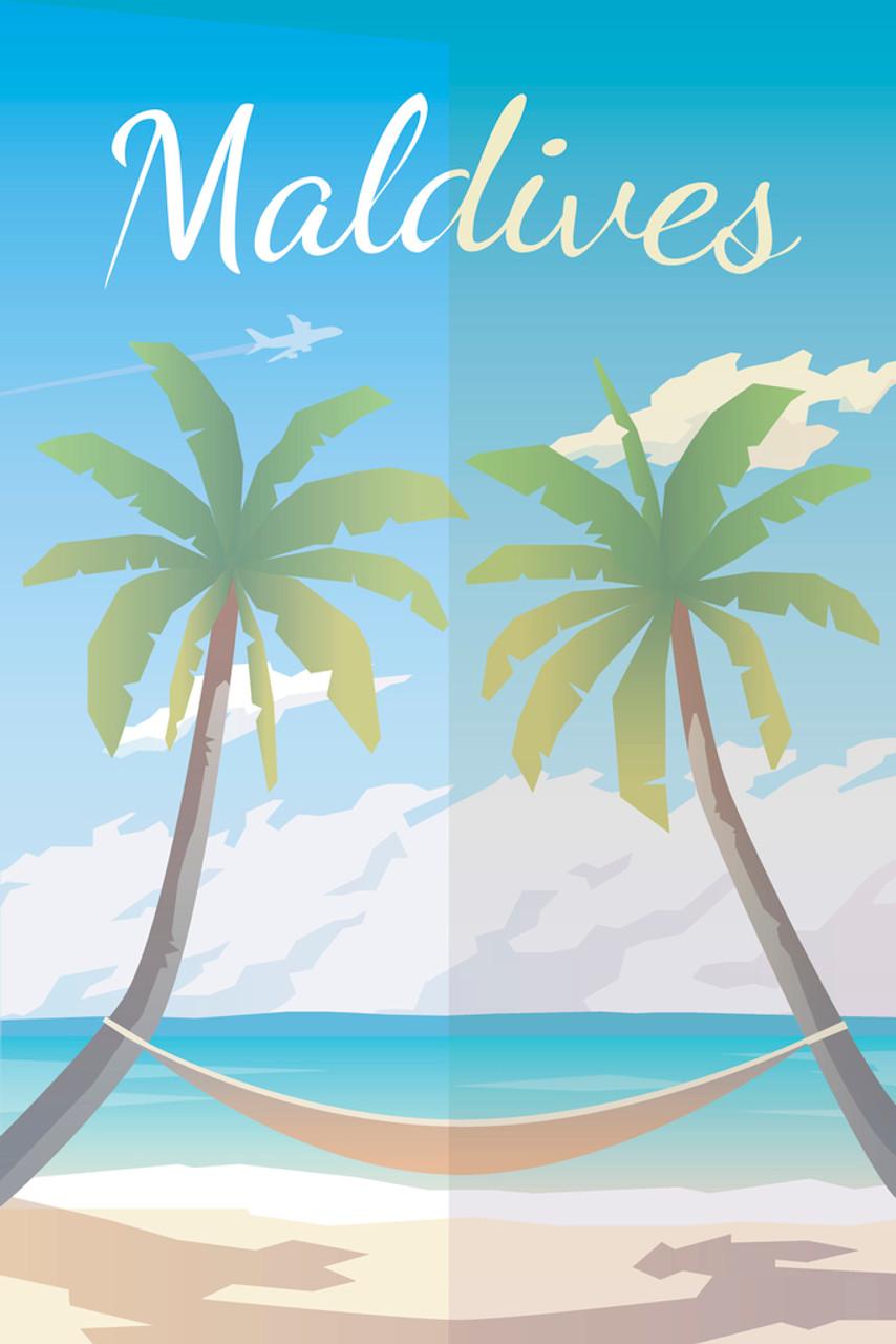 Maldives Palm Trees and Hammock Vintage Travel Art Print Poster 12x18