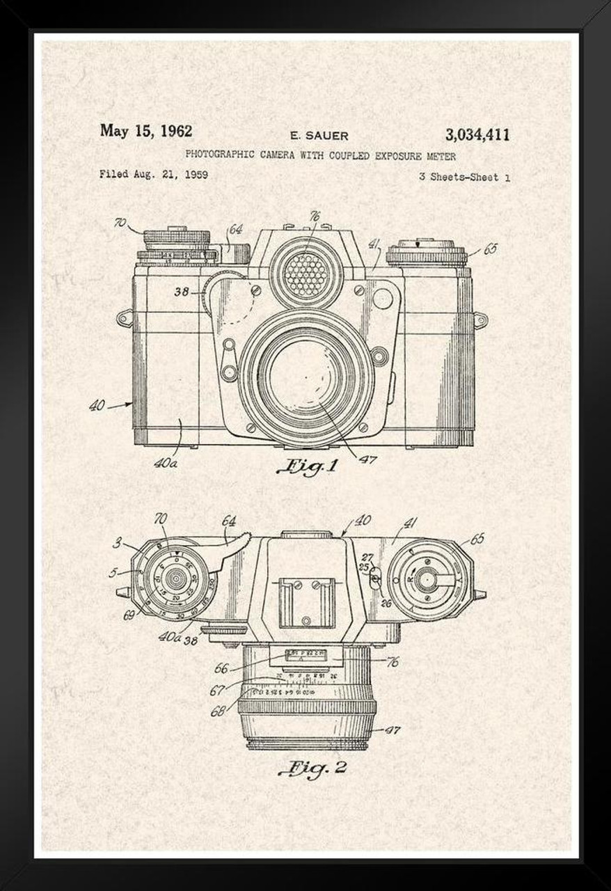 Poster Foundry First Film Camera George Eastman 1888 Official Patent Blueprint Matted Framed Wall Art Print 20x26 inch