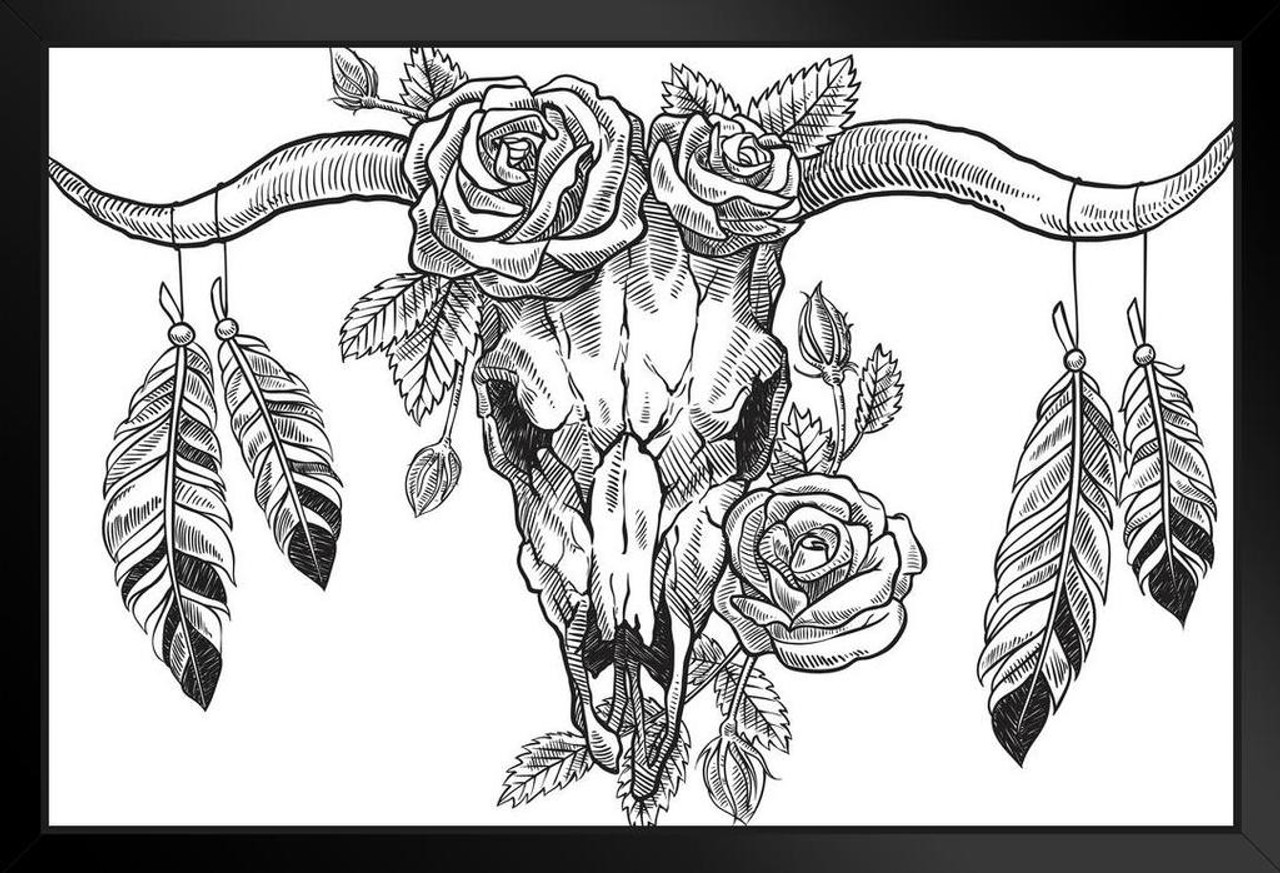 Bull Skull With Roses And Feathers Art Print Framed Poster 14x20