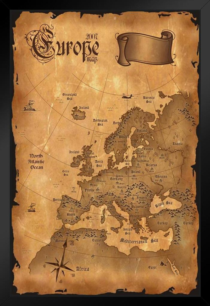 Political Map Of Europe Poster With Flags Oak Framed Ready To Hang Frame