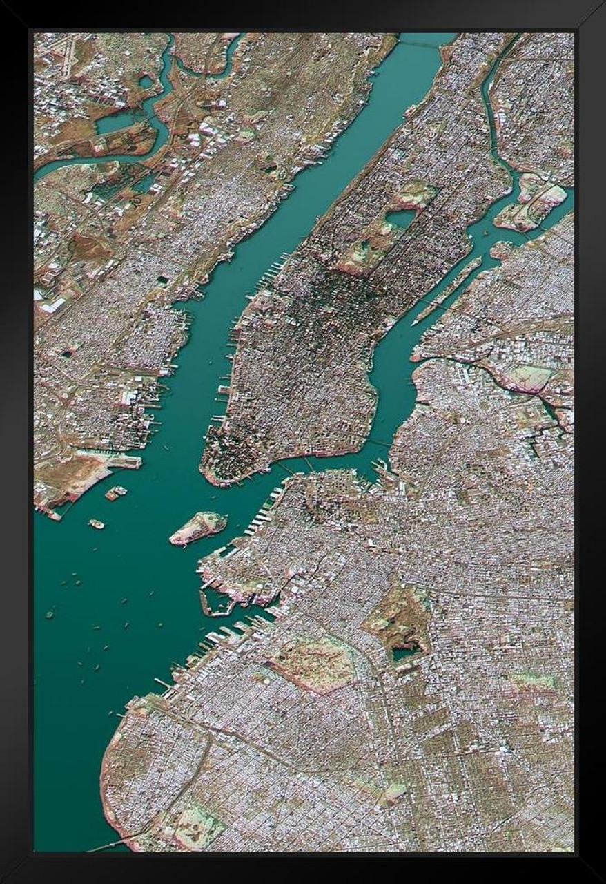 New York City Satellite View Topographic Map Landscape Photo Art