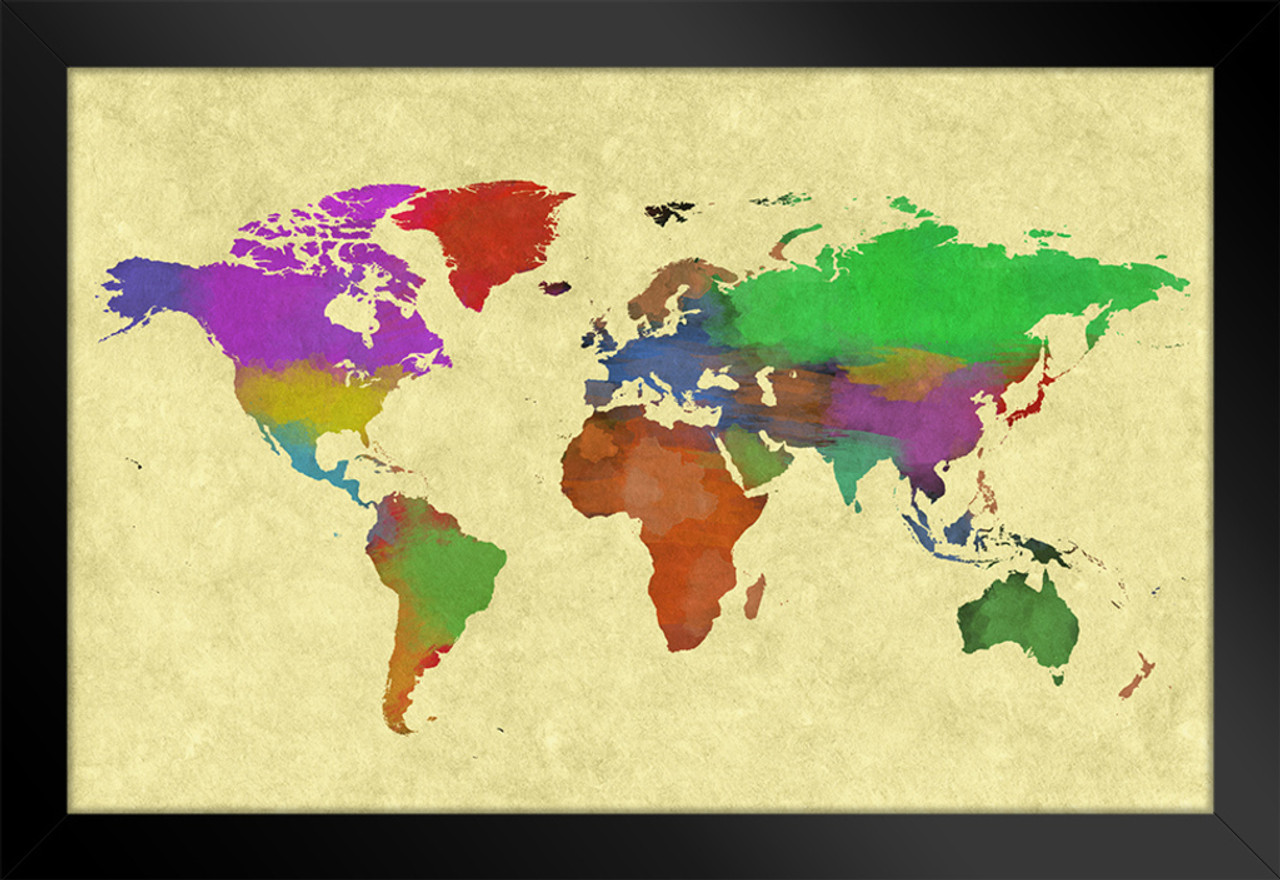 Colorful World Map Art.World Map Colorful World Painting Art Print Framed Poster 20x14 Inch