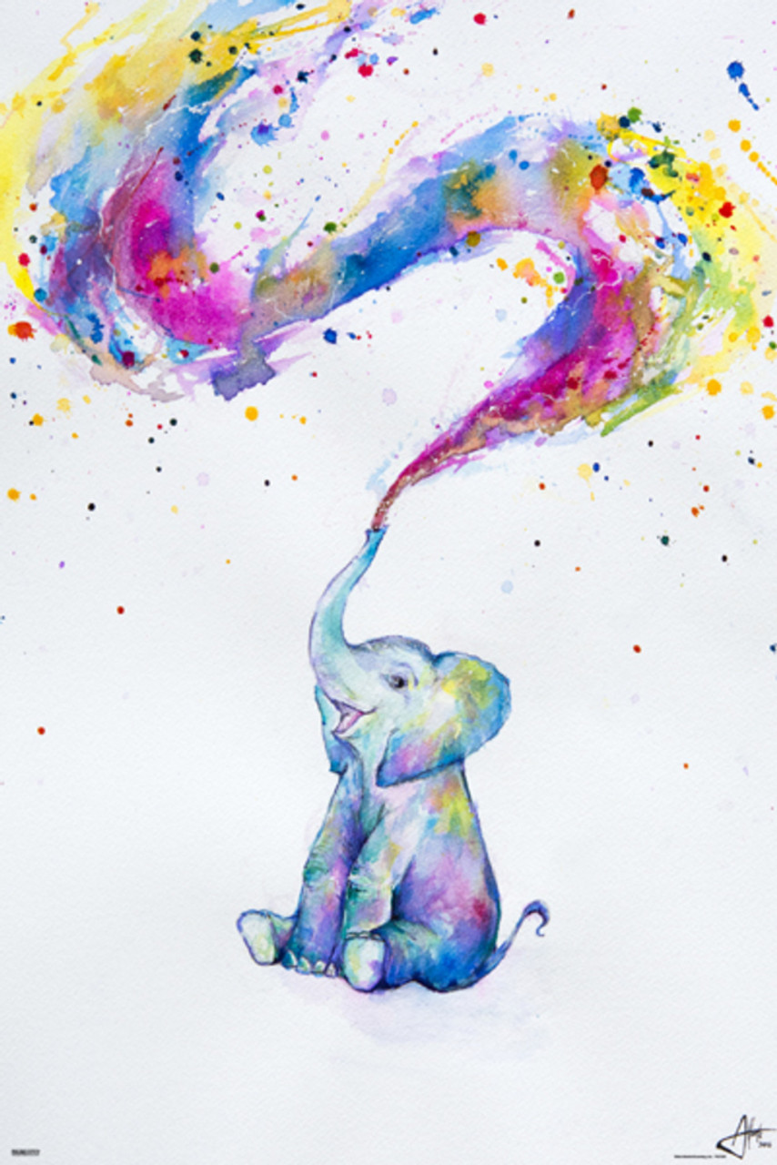- Spring Marc Allante Baby Elephant Paint Splash Colorful Watercolor