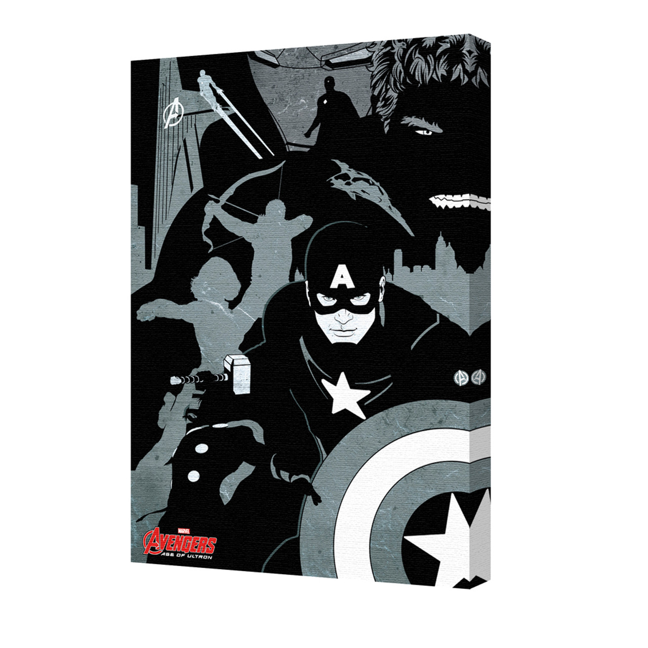 Avengers black and white marvel comics superheroes comic book characters stretched canvas 24x36 poster foundry