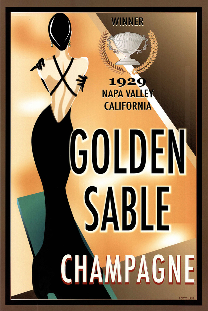 Golden Sable Champagne Winner 1929 Napa Valley California Thick Cardstock  Poster - 24x36