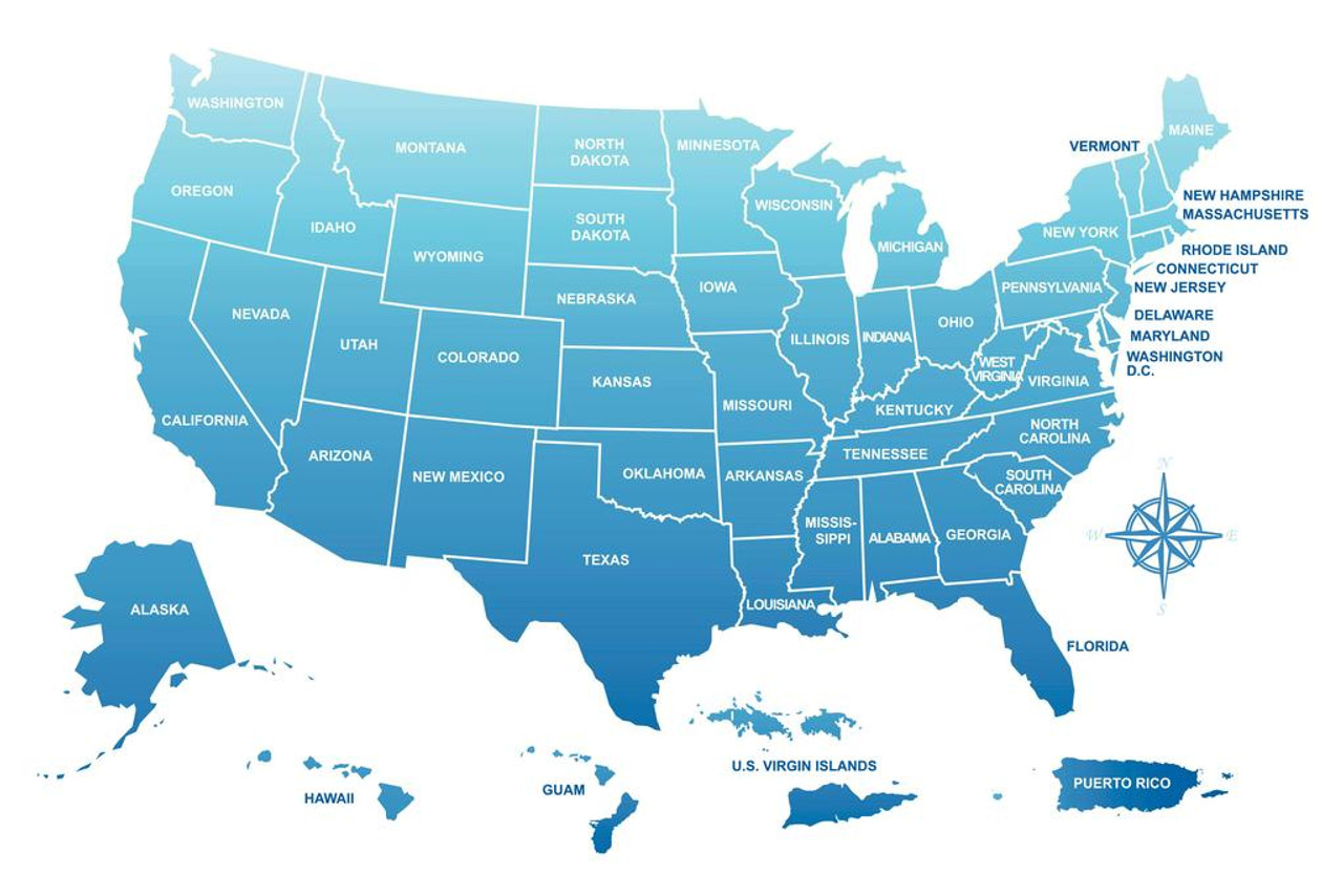 Laminated Map of the United States and its Territories USA Classroom  Reference Sign Poster 18x12 inch