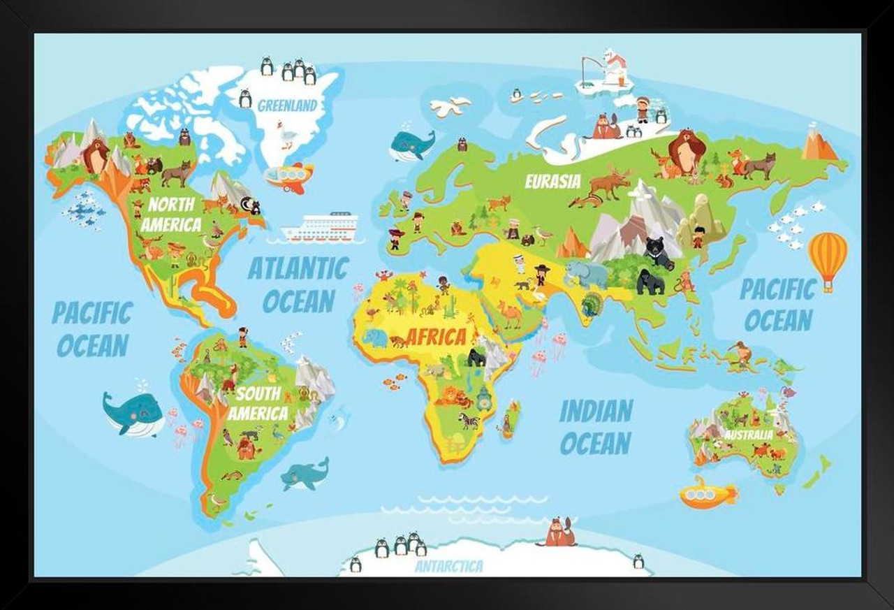 Educational Kids Global World Map Cartoon Animals Framed Poster 20x14 on current global weather map, global political map, global information systems, global time map, global wine map, global risk game map, global technology map, global christianity map, global population distribution map, global sports map, global air traffic control map, global culture map, global temperature rise, europe map, earth real-time wind map, global earth, global map south africa, new zealand global map, global telecommunications provider, global nepal map,