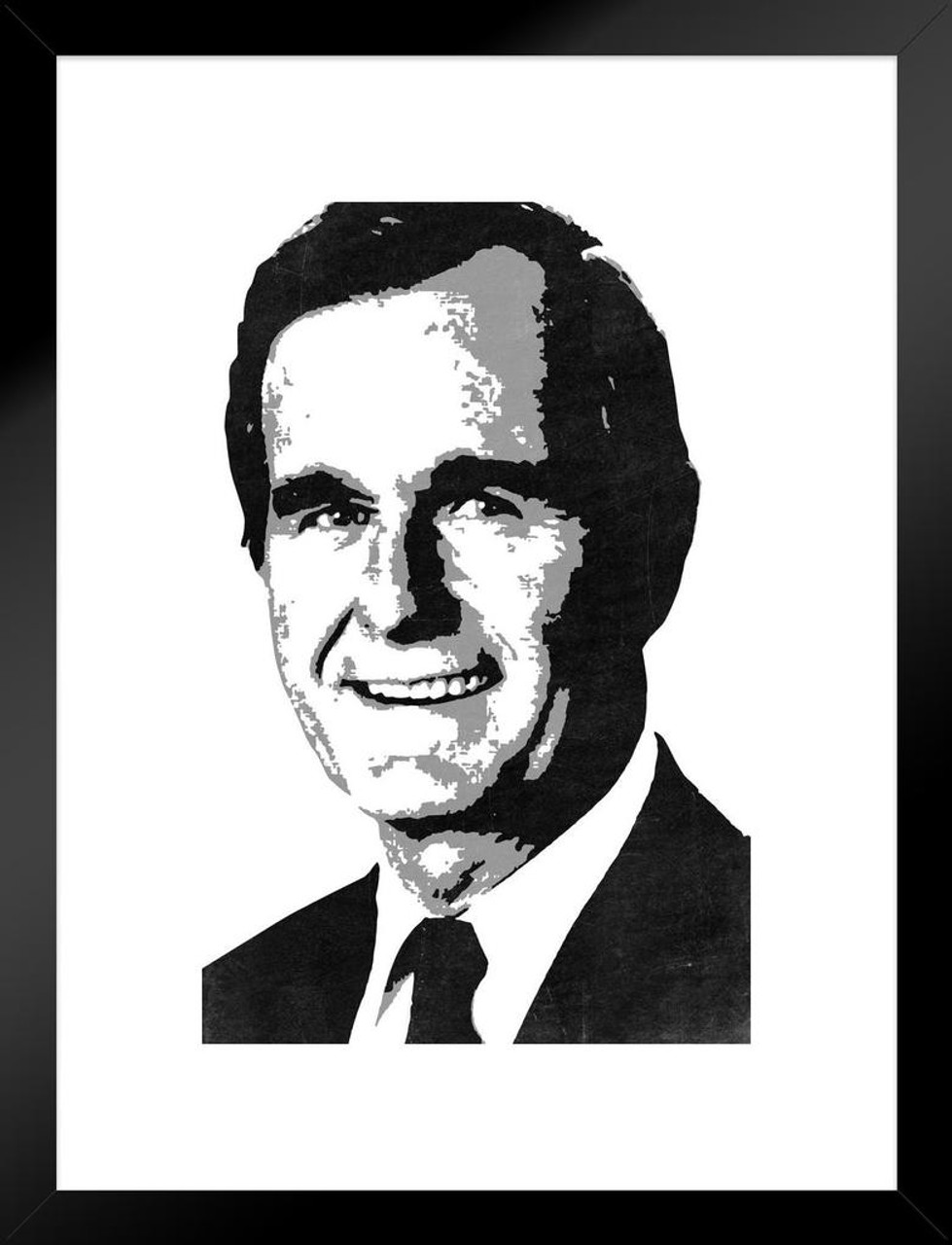 President george hw bush 41 pop art portrait republican politics politician white matted framed wall art