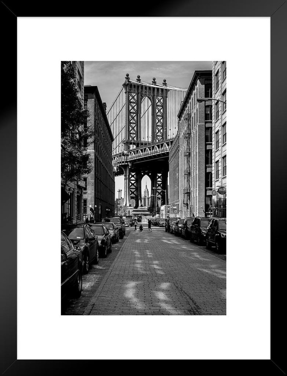 The manhattan bridge from dumbo brooklyn black and white bw photo art print matted framed wall art 20x26 inch