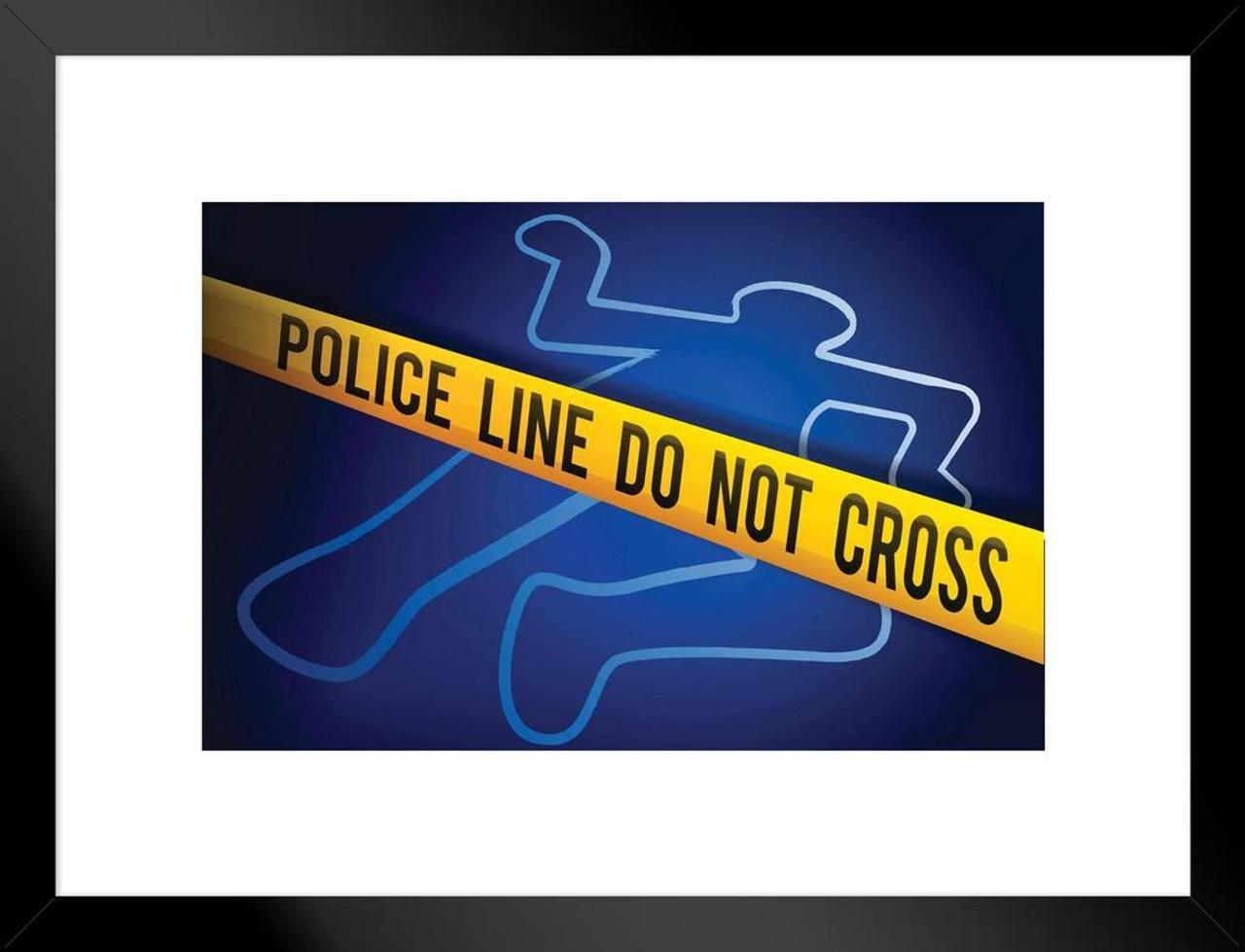 Crime Scene Tape Homicide Dead Body Outline Art Print Matted Framed Wall  Art 26x20 inch