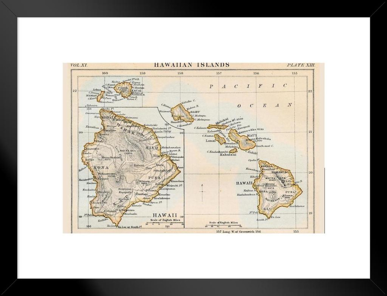 image relating to Printable Map of Hawaiian Islands identified as Hawaiian Islands 1883 Ancient Antique Design and style Map Matted Framed Wall Artwork Print 26x20 inch