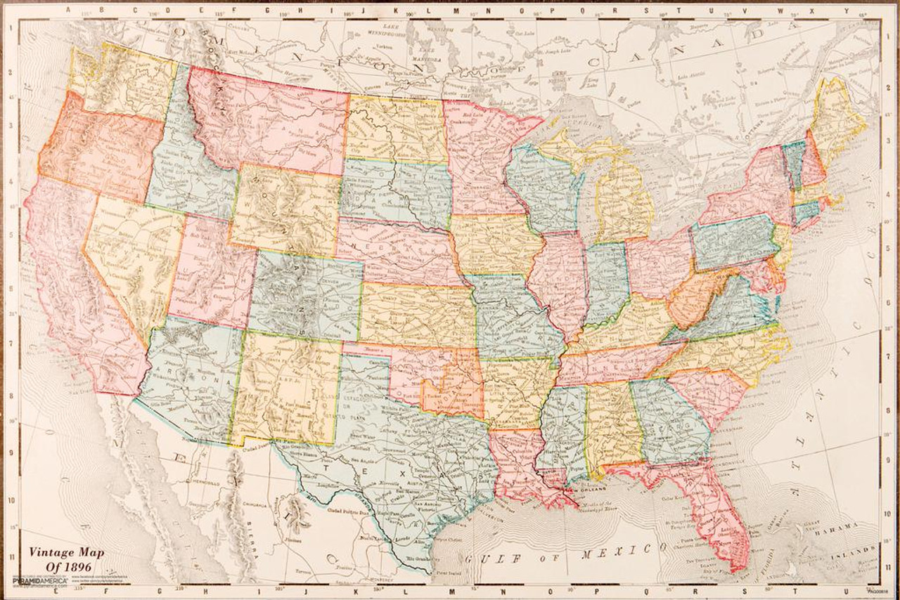 Laminated Map Of United States USA 1896 Vintage Travel Decorative Reference  Educational Art Sign Poster 18x12 inch