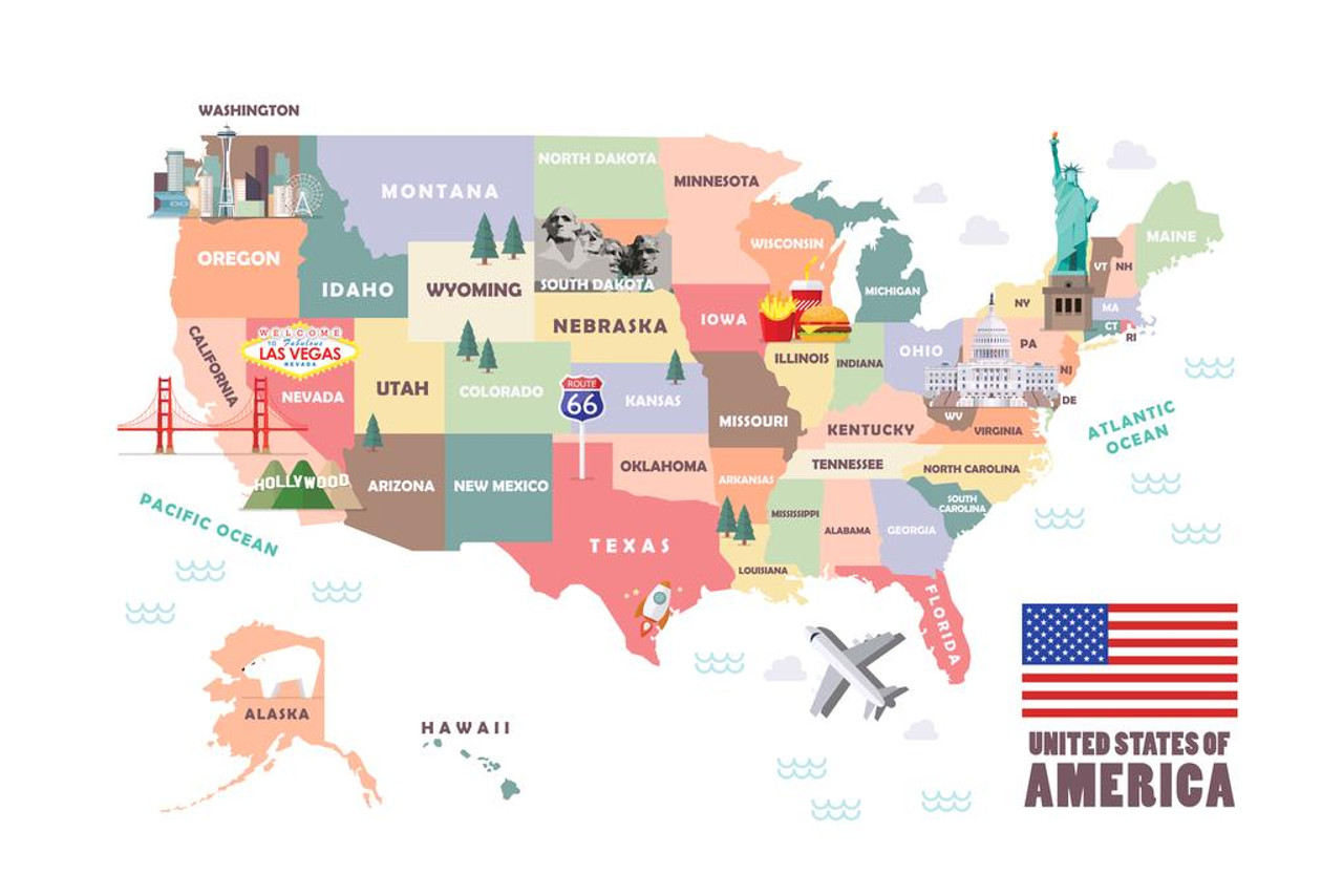 Laminated USA United States Of America Map Famous Attractions Travel Sign  Poster 18x12 inch