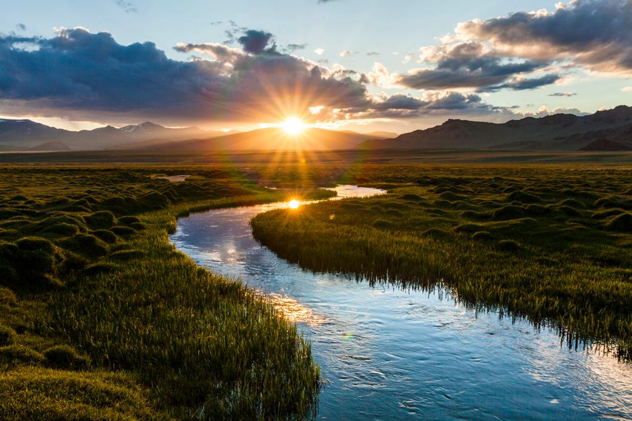 Mountain River Perfect Fishing Sunset Landscape Photo Cool Wall
