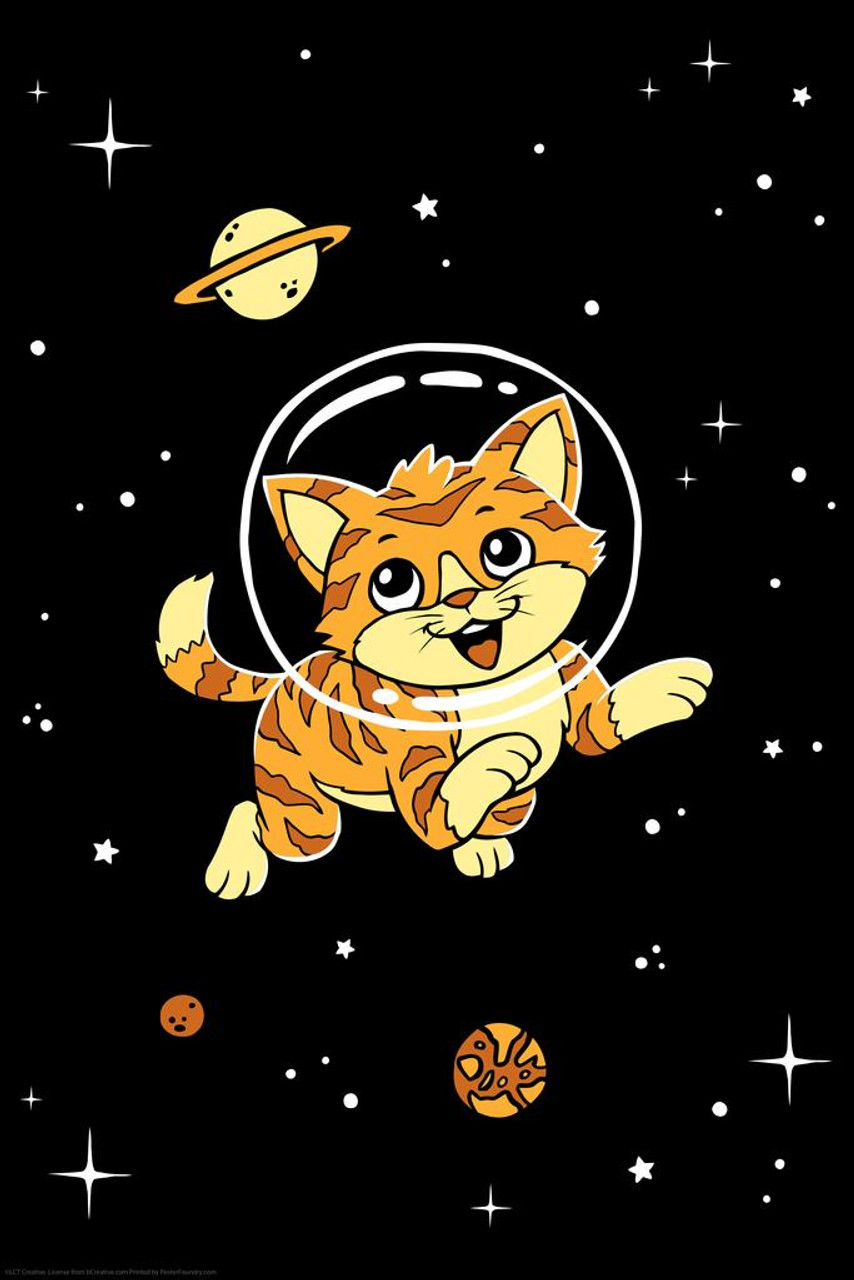 Cat in Space Funny Poster 12x18