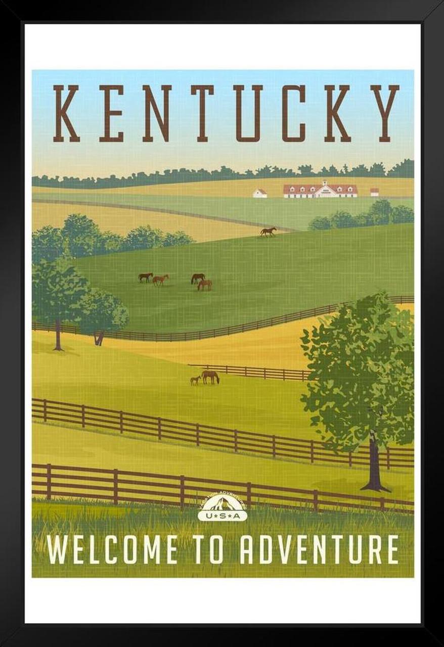 Scenic Kentucky Landscape Rolling Hills Horses Fences Stables Vintage  Travel Framed Poster 14x20 inch