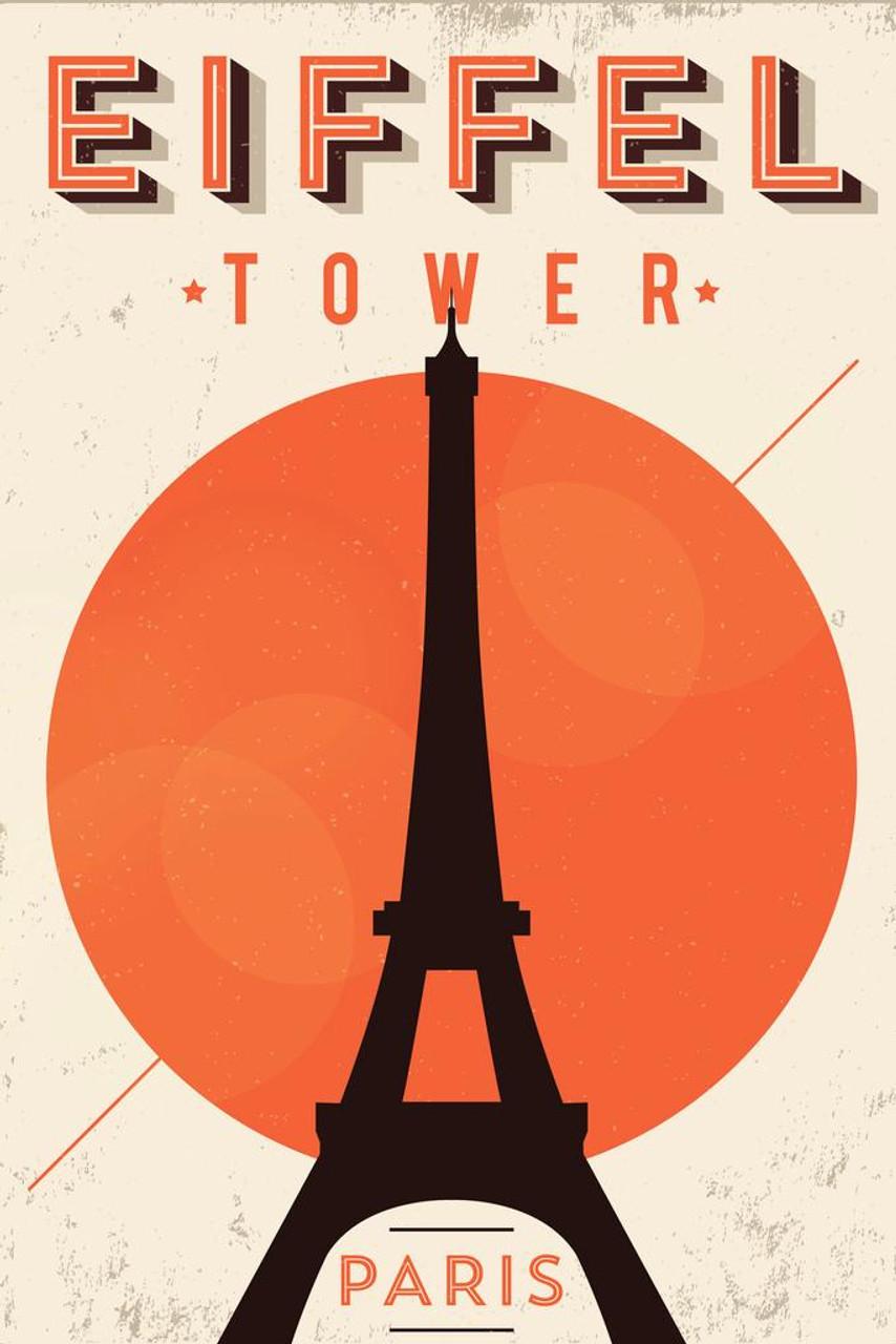 "24/""x36/""  on Canvas Vintage Travel Art Paris France-Eiffel Tower Fly TWA"