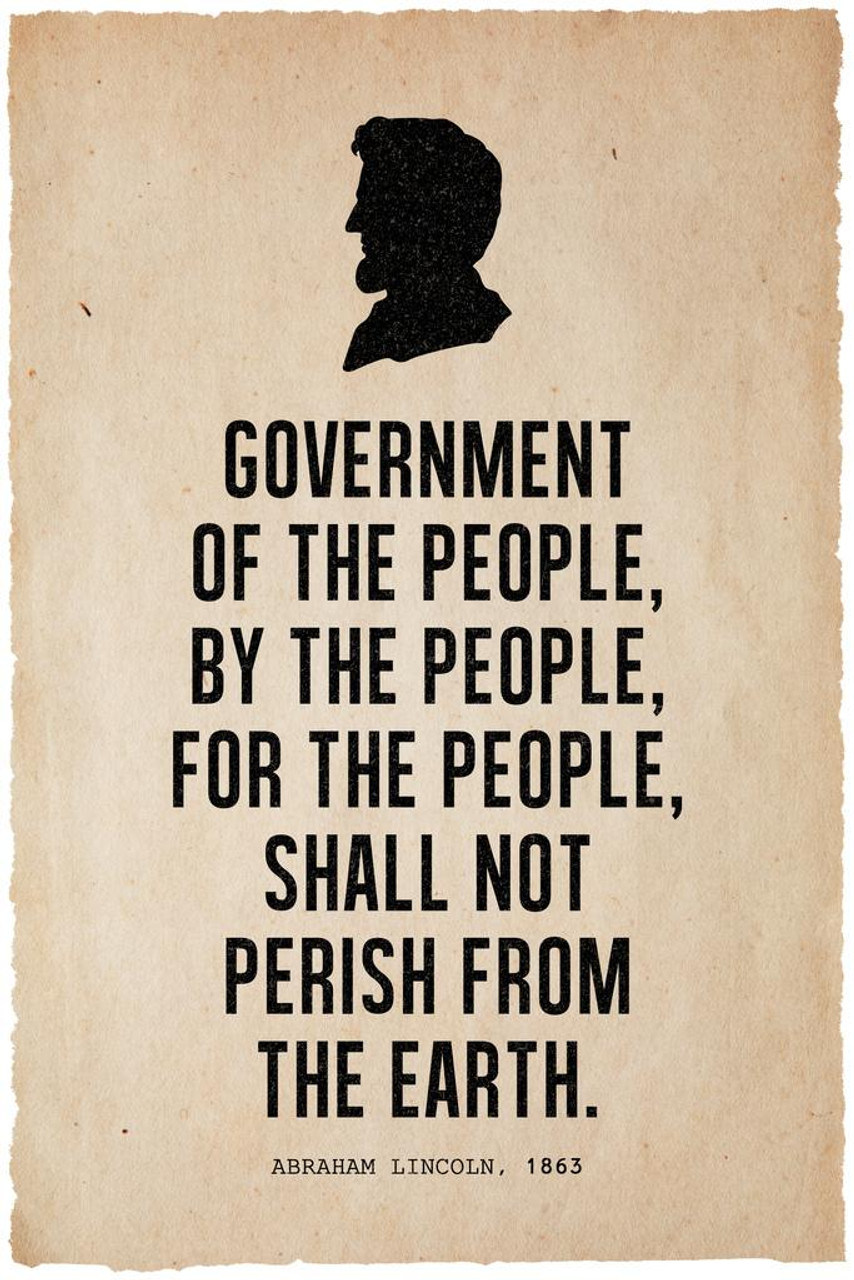 President Abraham Lincoln Government Famous Motivational Inspirational Quote Silhouette Cool Wall Decor Art Print Poster 24x36