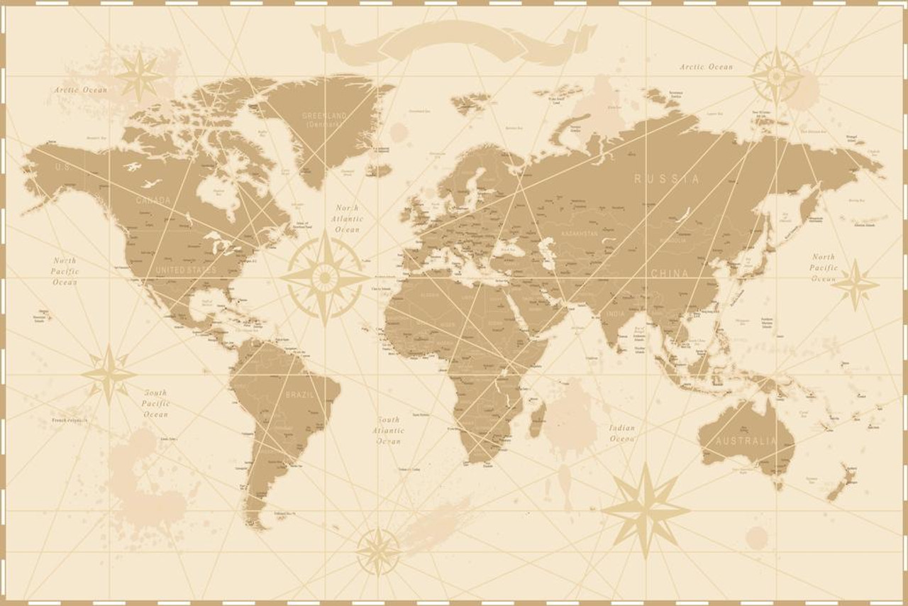 Pyramid America World Map Antique Vintage Style Laminated Dry Erase Sign Poster 36x24