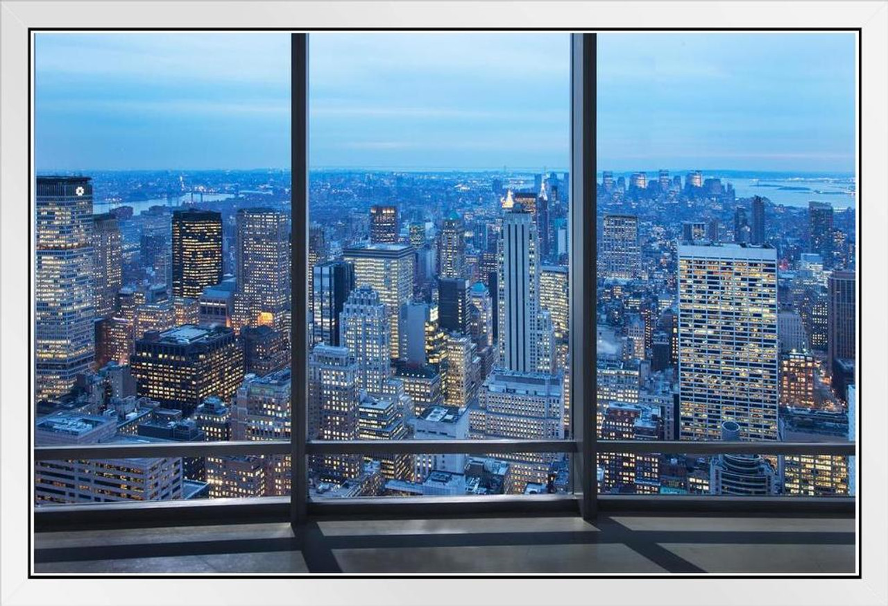 New York City Skyline Through Window At Dusk Photo Photograph White Wood Framed Poster 14x20 Poster Foundry