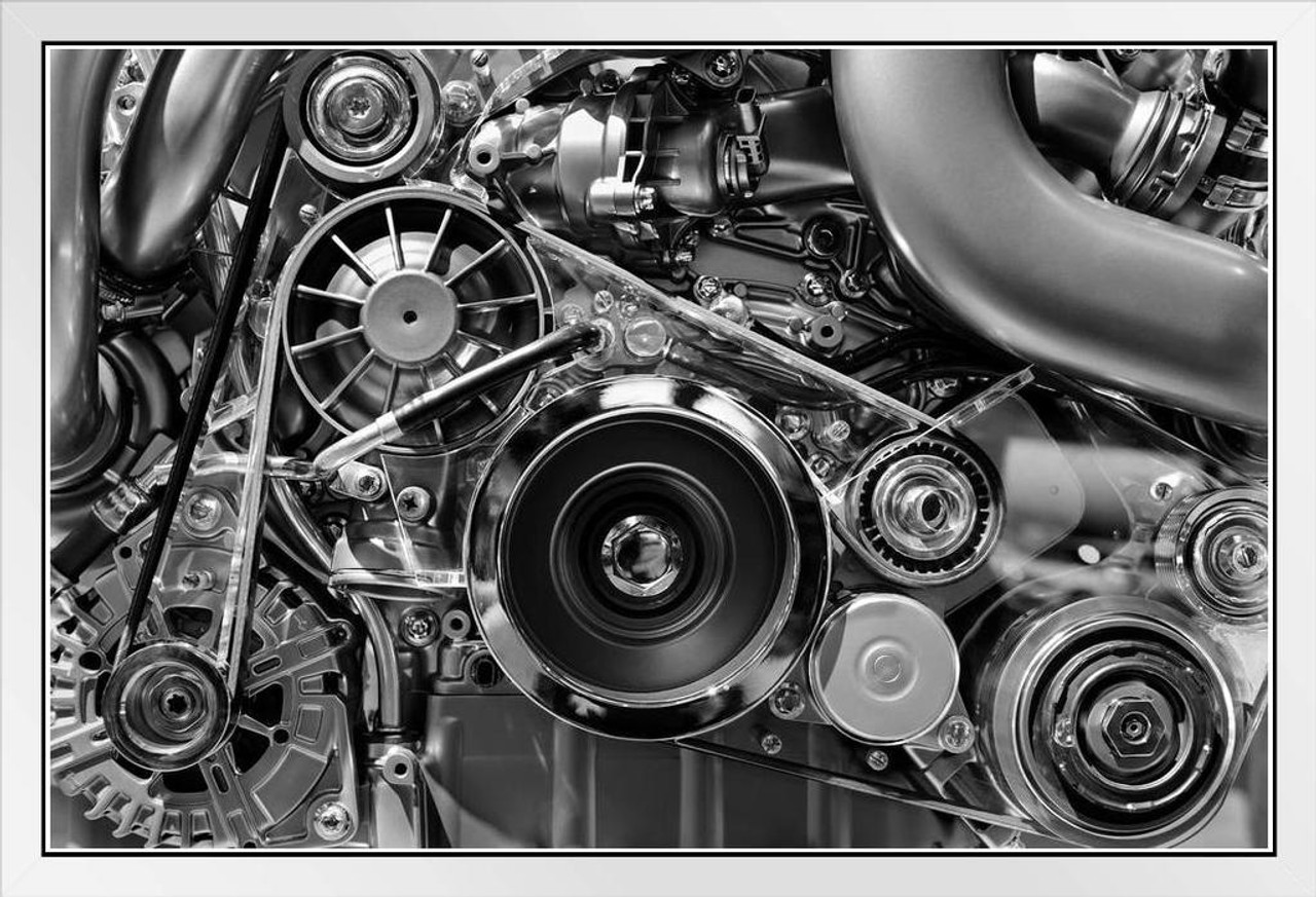 Car Engine In Monochrome Black And White Photo Photograph White Wood Framed Poster 20x14 Poster Foundry